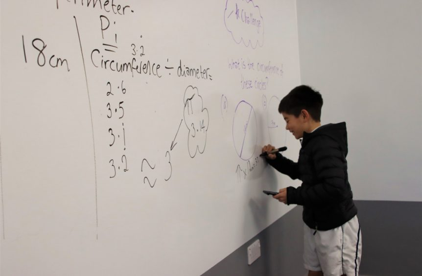 maths calculations on white board